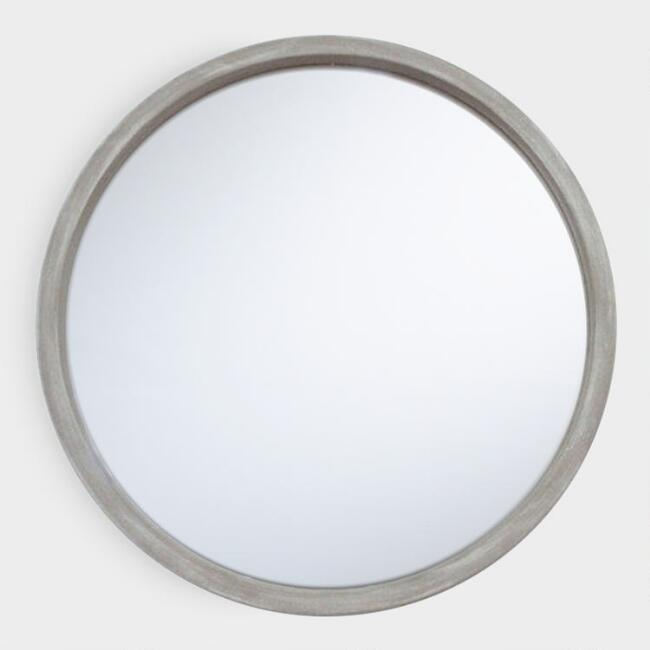 Round Rustic Gray Mirror