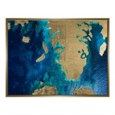 Gold Leaf Land And Sea Print Framed Canvas Wall Art