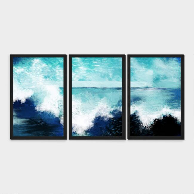 Coastal Triptych Shadow Box Framed Canvas Wall Art Set Of 3