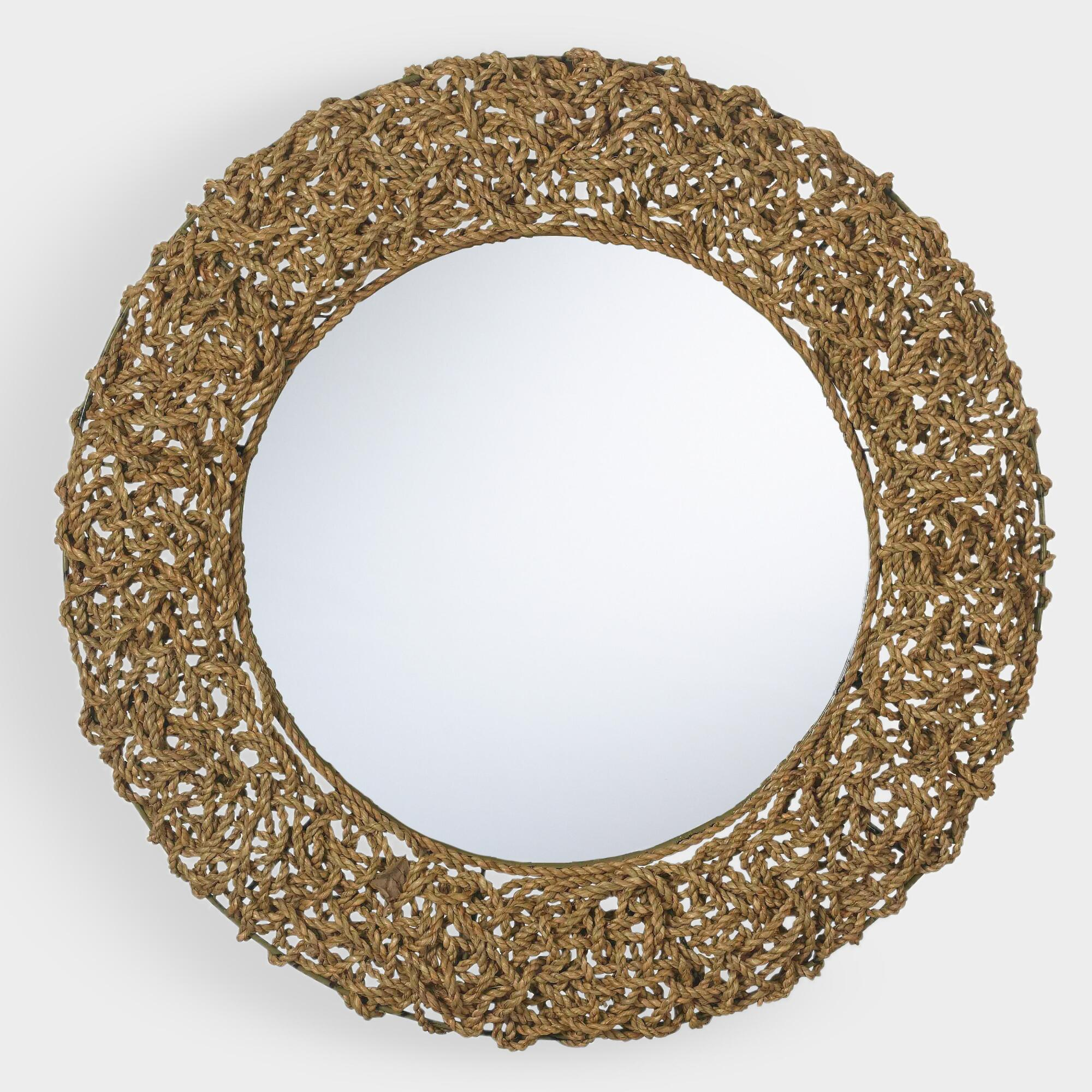Round Natural Seagrass Rope Mirror - Natural Fiber - Medium by World Market