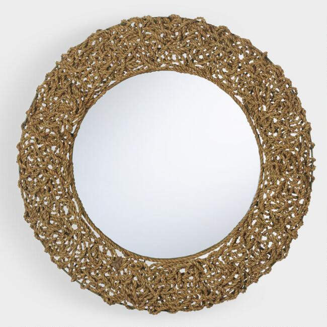 Round Natural Seagrass Rope Mirror