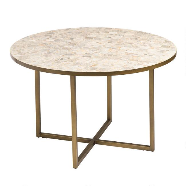 Round Marble Top Aveiro Outdoor Dining Table