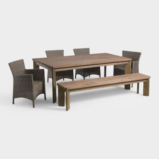 Warm Brown Wood Almeria Outdoor Dining Collection