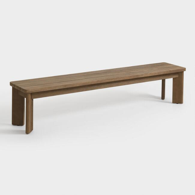 Warm Brown Wood Almeria Outdoor Dining Bench