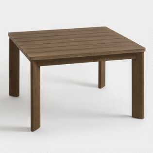 Square Warm Brown Wood Almeria Outdoor Dining Table
