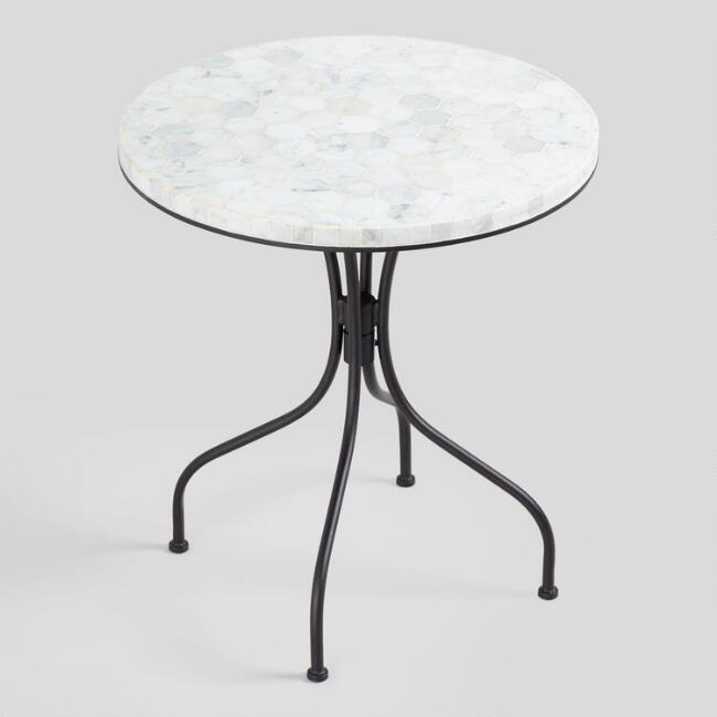 Round Ivory Stone Cadiz Outdoor Bistro Table