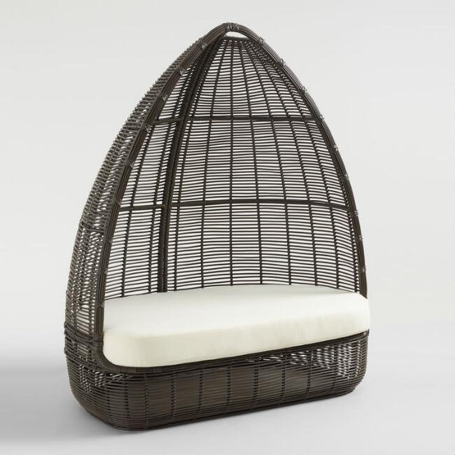 Dark Gray All Weather Wicker Maximus Egg Chair