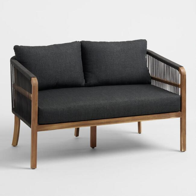 Black Nautical Rope Cambria Outdoor Occasional Bench