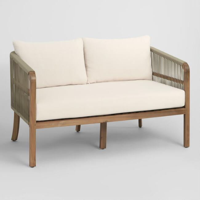 Tan Nautical Rope Cambria Outdoor Occasional Bench by World Market