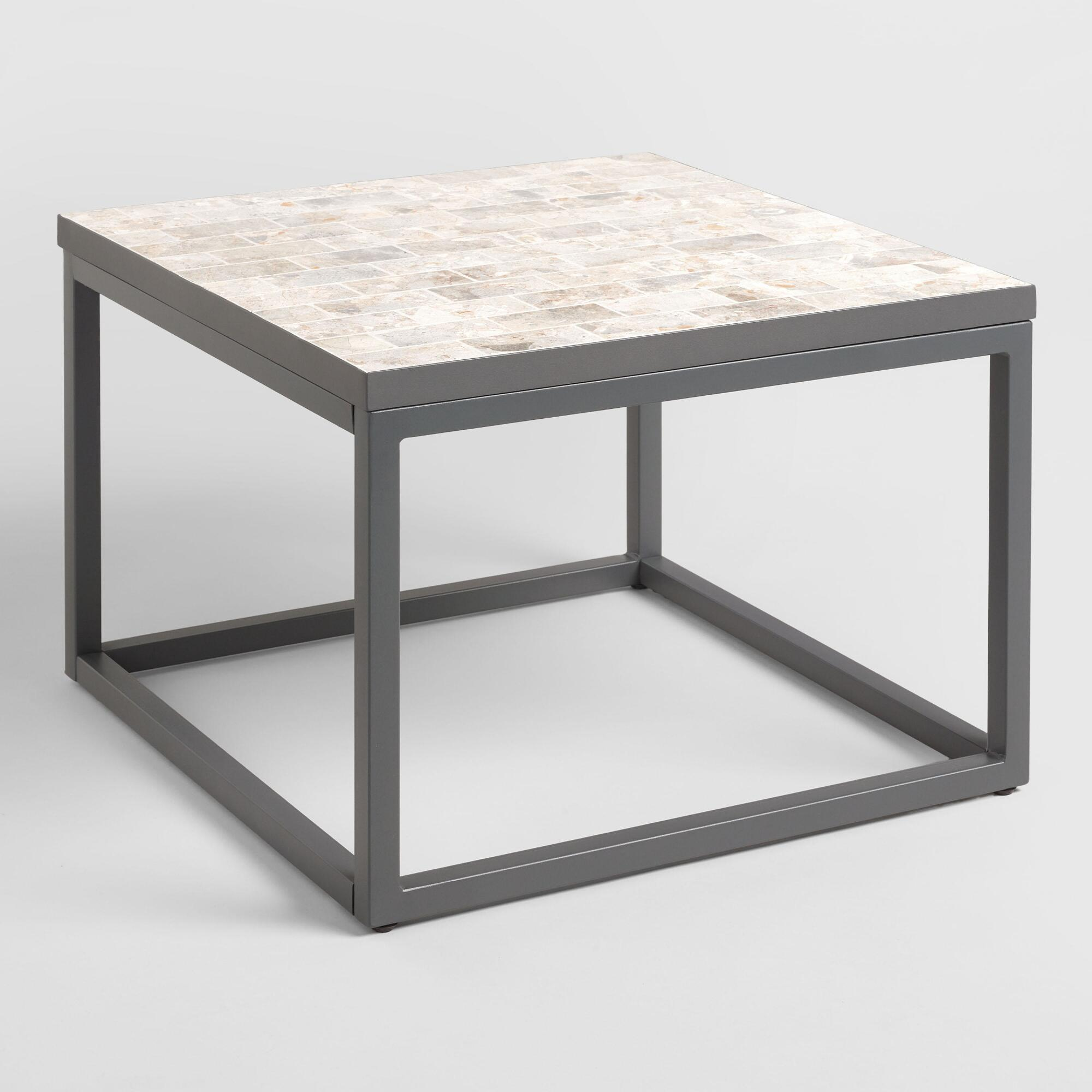 Square Marble Top Aveiro Outdoor Patio Occasional Coffee Table by World Market