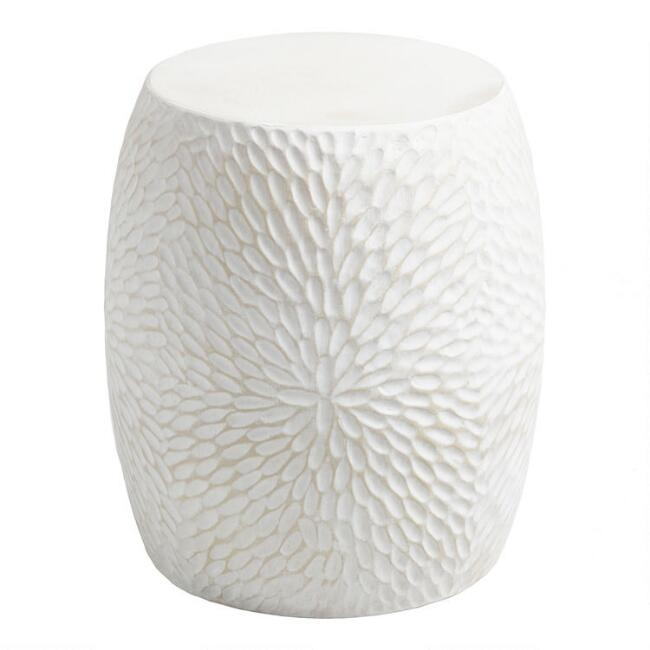 White Cement Mariela Outdoor Accent Stool
