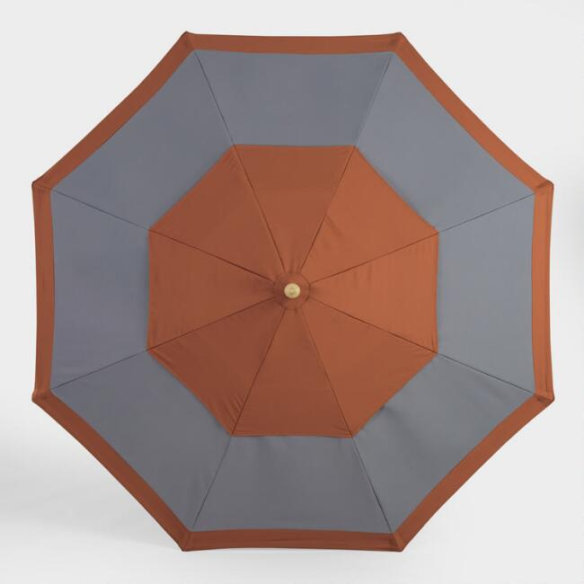 Rust and Charcoal Two Tier 9 Ft Replacement Umbrella Canopy