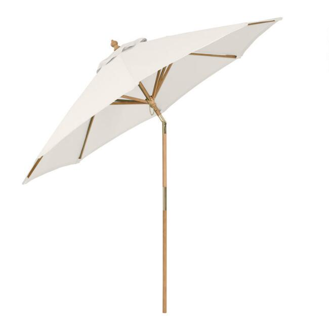 Natural Wood Tilting 9 Ft Outdoor Umbrella Frame And Pole
