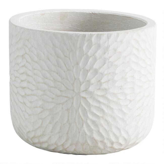 White Embossed Cement Mariela Outdoor Planter