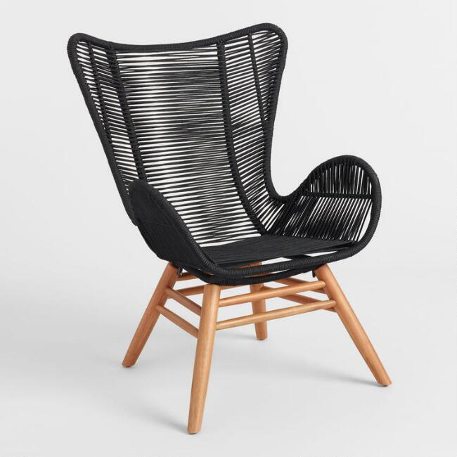 Black Nautical Rope Rapallo Outdoor Butterfly Chair