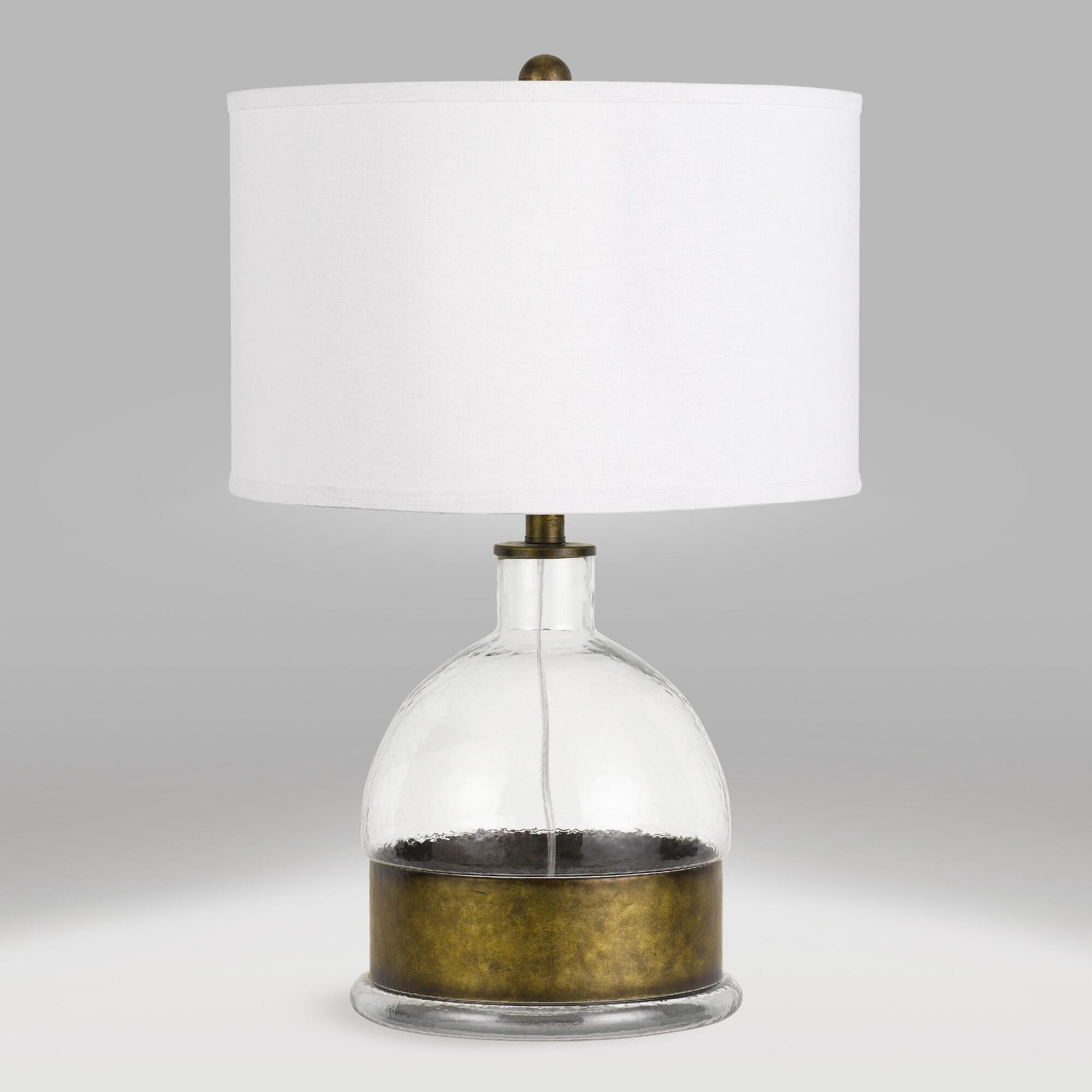 Glass and Antique Brass Nala Table Lamp by World Market
