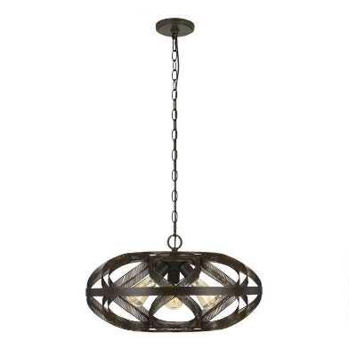 Dark Bronze Metal Mesh 3 Light Owen Pendant Lamp