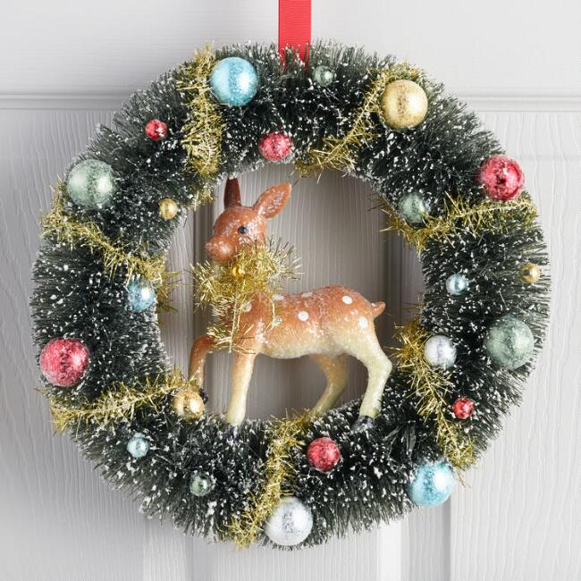 Retro Bottlebrush Wreath with Deer