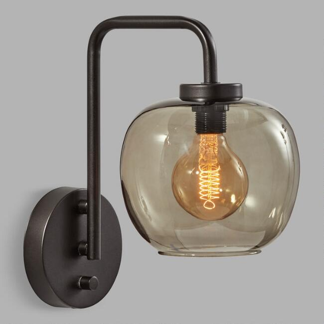 Matte Black and Smoky Glass Meyer Wall Sconce