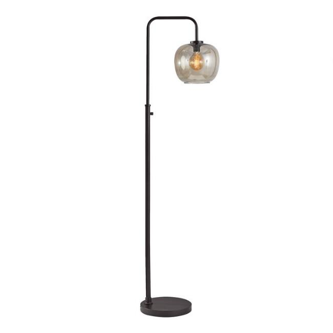 Matte Black and Smoky Glass Meyer Floor Lamp