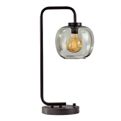 Matte Black and Smoky Glass Meyer Table Lamp