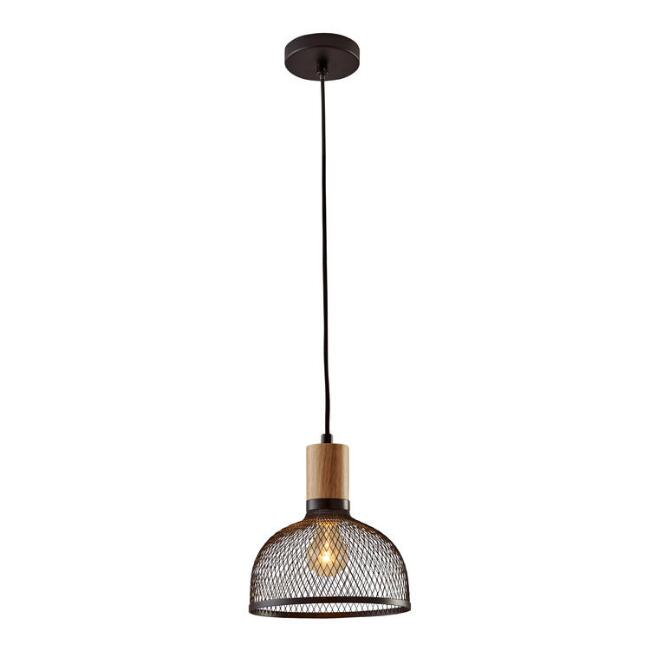 Small Black Mesh And Wood Clint Pendant Lamp