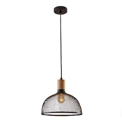 Large Black Mesh And Wood Clint Pendant Lamp