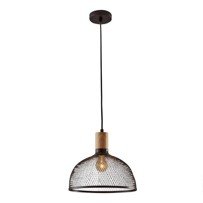 Large Black Mesh And Wood Clint Pendant Lamp by World Market