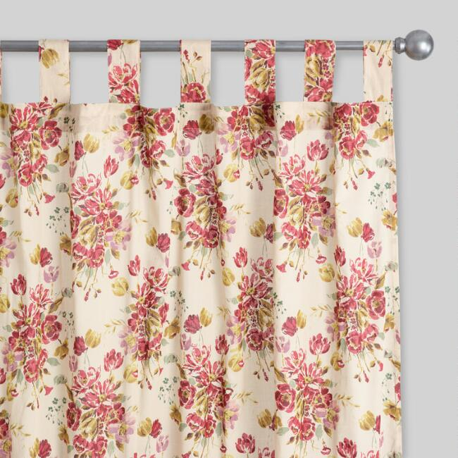 Tan and Red Floral Ruffle Millie Tab Top Curtains Set of 2