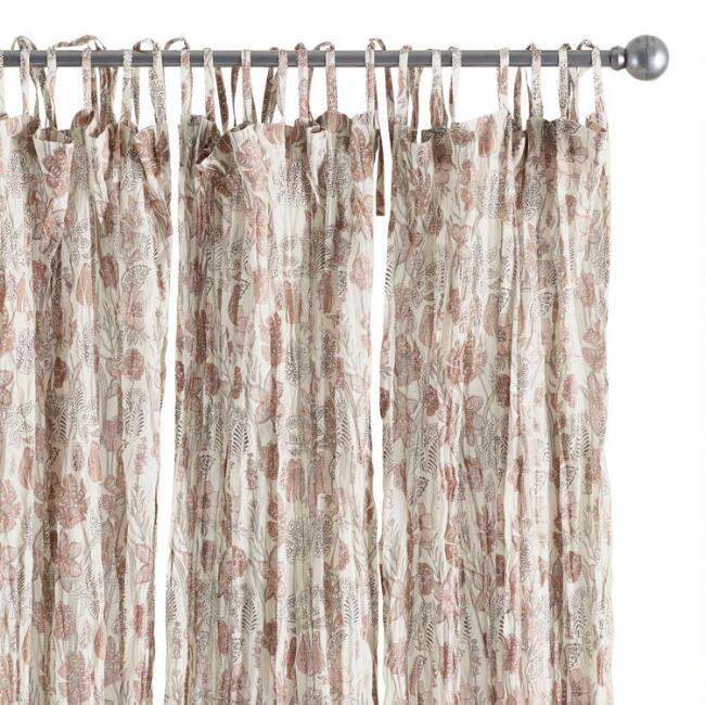 Rustic Floral Crinkle Voile Tie Top Curtains Set of 2