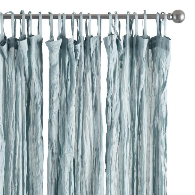Slate Blue Crinkle Voile Tie Top Curtains Set of 2