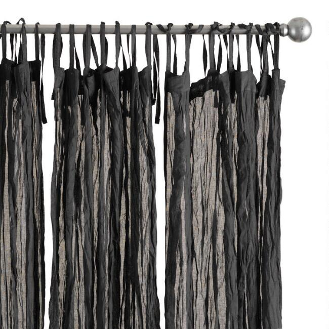 Black Crinkle Voile Tie Top Curtains Set of 2