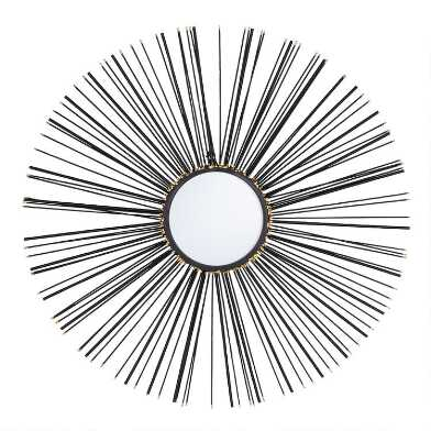 Round Black Iron Sunburst Spoke Mirror