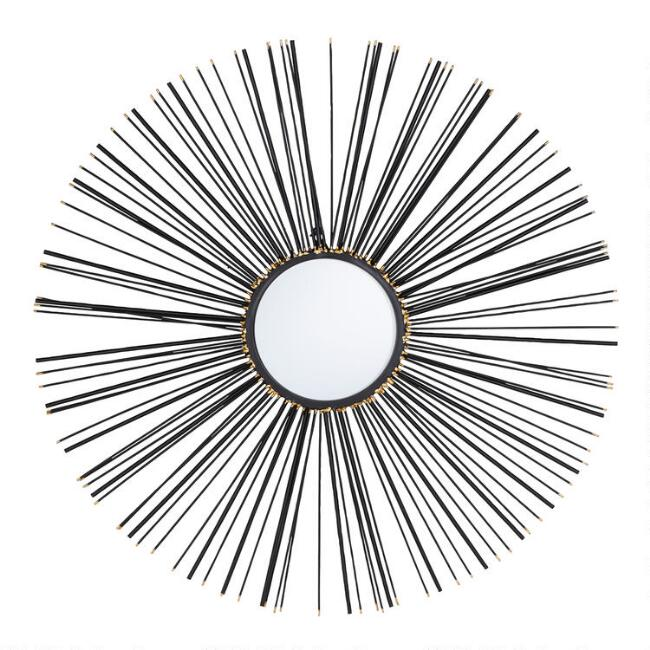 Round Iron Sunburst Spoke Wall Mirror
