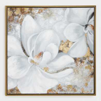 White And Gold Floral Framed Canvas Wall Art