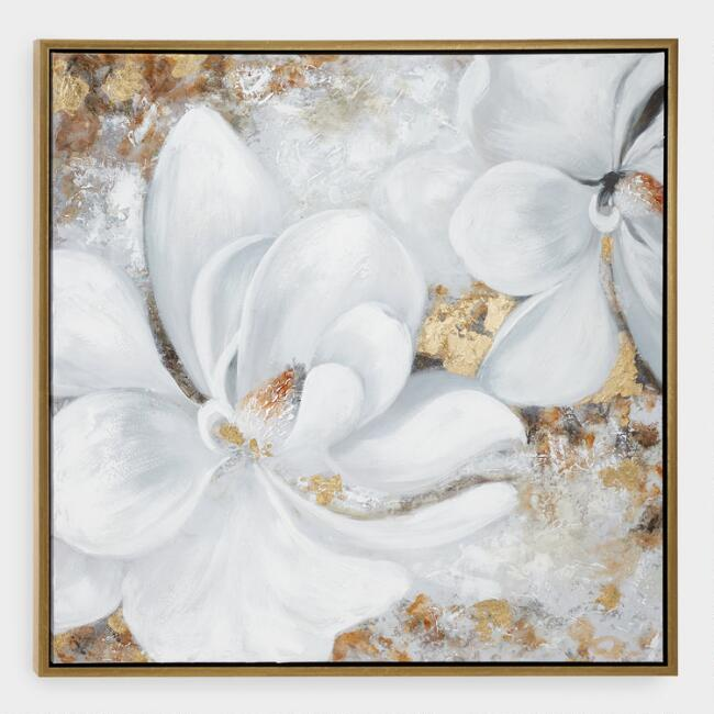 White and Gold Floral Canvas Wall Art