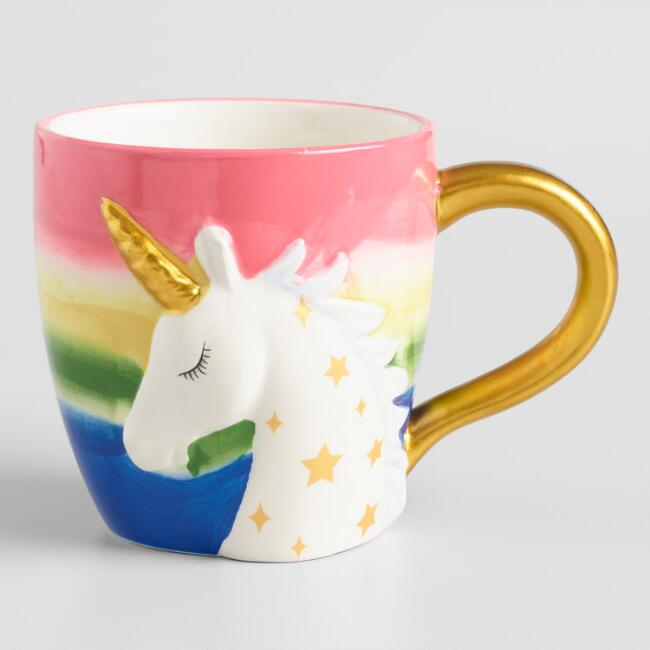 Rainbow and Gold Unicorn Mug