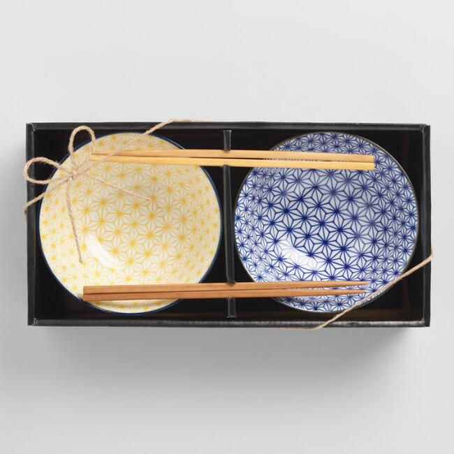 Yellow and Blue Porcelain Bowls and Chopsticks Gift Set