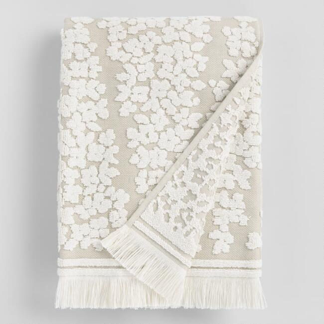 Taupe and Ivory Sculpted Floral Leanne Bath Towel