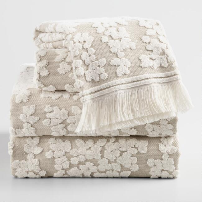 Taupe and Ivory Sculpted Floral Leanne Towel Collection