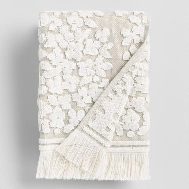 Taupe and Ivory Sculpted Floral Leanne Hand Towel
