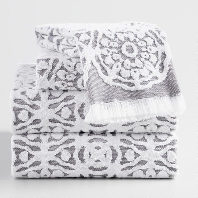 Gray and White Sculpted Medallion Kasidy Towel Collection