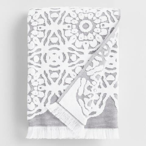 Gray and White Sculpted Medallion Kasidy Towel Collection | World
