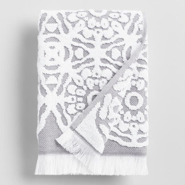 Gray and White Sculpted Medallion Kasidy Hand Towel