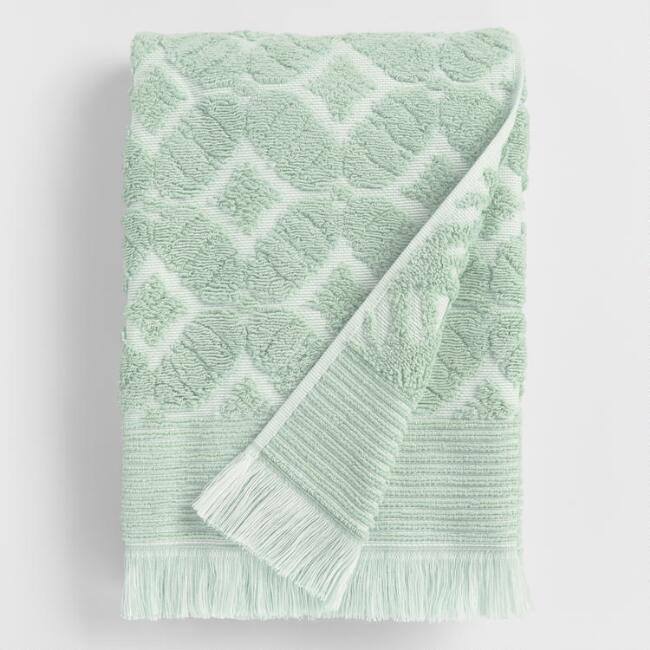 Jade Green Sculpted Lattice Nadia Bath Towel