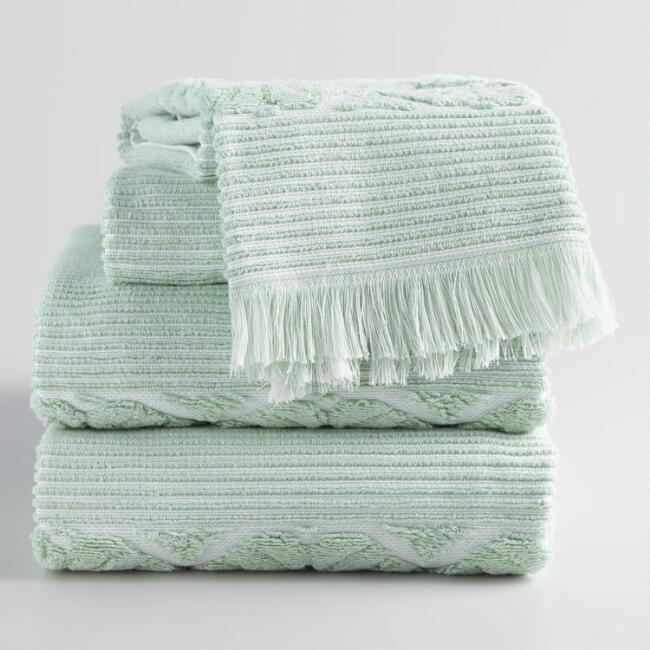 Jade Green Sculpted Lattice Nadia Towel Collection