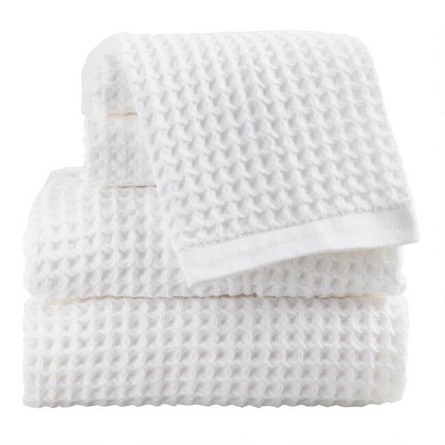 White Waffle Weave Cotton Towel Collection