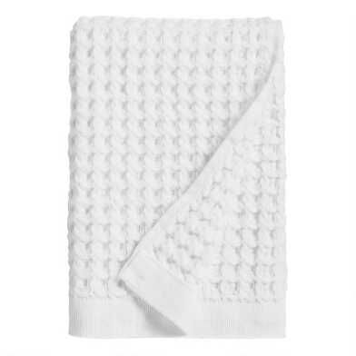 White Waffle Weave Cotton Hand Towel