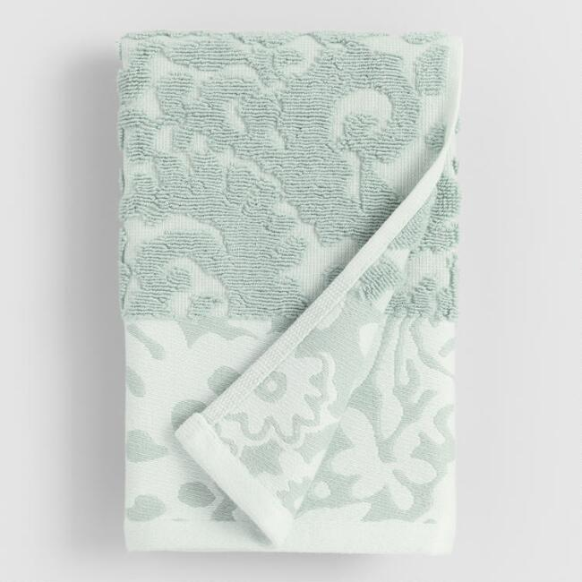 Aqua Poppy Sculpted Hand Towel