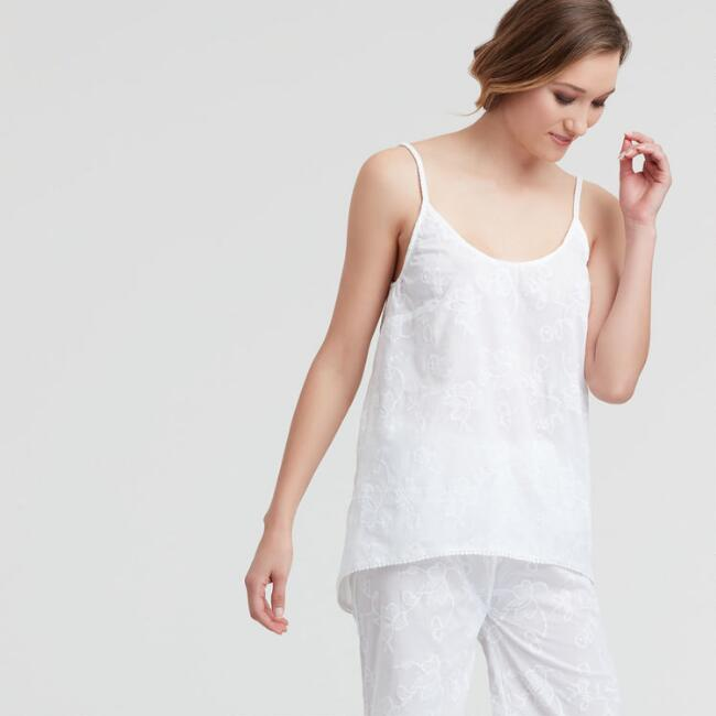 White Floral Embroidered Tarah Sleep Tank